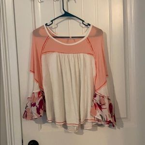 Pink and white thermal knit top